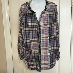 Style & Co 3X mixed plaid top